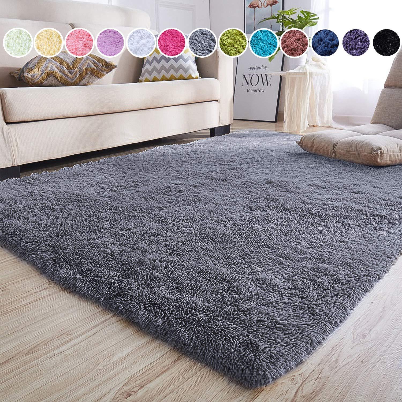 junovo Ultra Soft Area Rugs 5.3 x 7.5ft Fluffy Carpets for Bedroom Kids Girls Boys Baby Living Room Shaggy Floor Nursery Rug Home Decor Mats, Grey