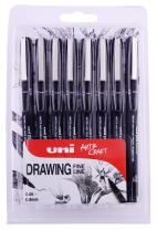 PIN 8pc Drawing Pen, Black Ink, 8 Pack Assorted Nib Sizes