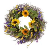 """DII Decorative Seasonal Wreath Spring/Summer, Front Door or Indoor Wall Décor, 22""""Diameter, Sunflower"""
