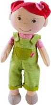 """HABA Snug Up Dorothea - 10"""" Soft Doll with Fuzzy Red Hair, Embroidered Face and Removable Green Overalls (Machine Washable) for Ages 18 Months +"""