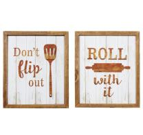NIKKY HOME Decorative Kitchen Wood Framed Wall Art Poster Prints Decor Set of 2