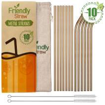 """Friendly Straw 10 Pack 10.5"""" x .25"""" Reusable Metal Straws, 5 Straight 5 Elbow Stainless Steel Drinking Straws With Free Brushes and Pouch (Bronze Finish)"""