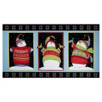 Henry Glass Sweater Weather Snowman Block Flannel 24'' Panel Fabric, Multicolor