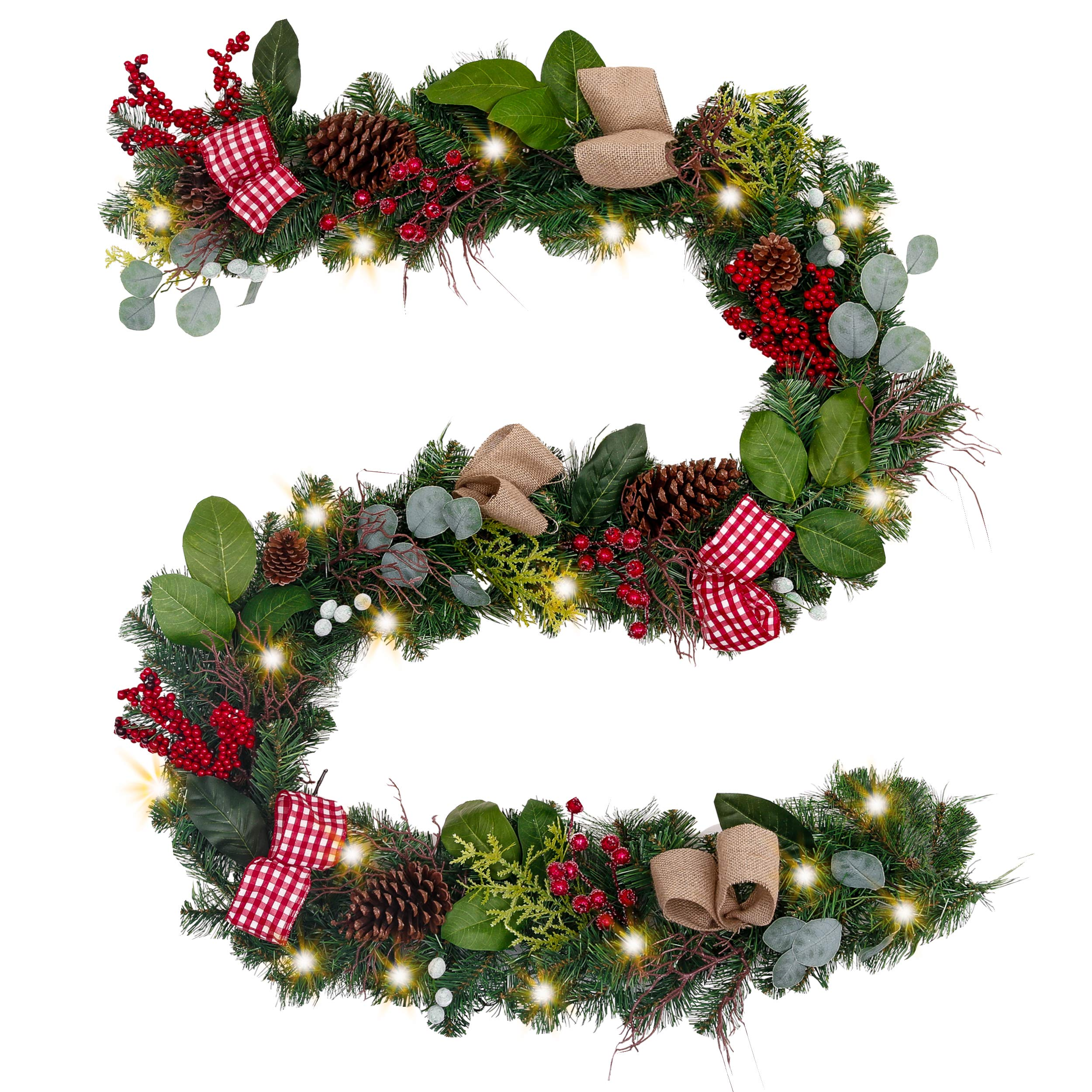 Valery Madelyn Pre-Lit 9 Feet/106 Inch Farmhouse Christmas Garland with Ball Ornaments Decorations, Berries, Pine Cones, Ribbons and Flowers, Battery Operated 40 LED Lights