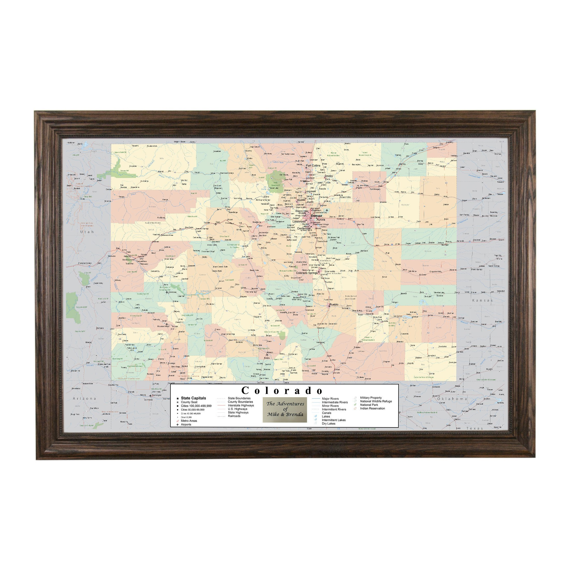 Push Pin Travel Maps Personalized Colorado with Solid Wood Brown Frame and Pins - 27.5 inches x 39.5 inches