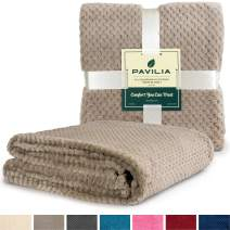PAVILIA Premium Flannel Fleece Bed Throw Blanket for Sofa Couch | Taupe Waffle Textured Soft Fuzzy Blanket | Warm Cozy Microfiber Plush | Twin Size 60 x 80 | Lightweight, All Season