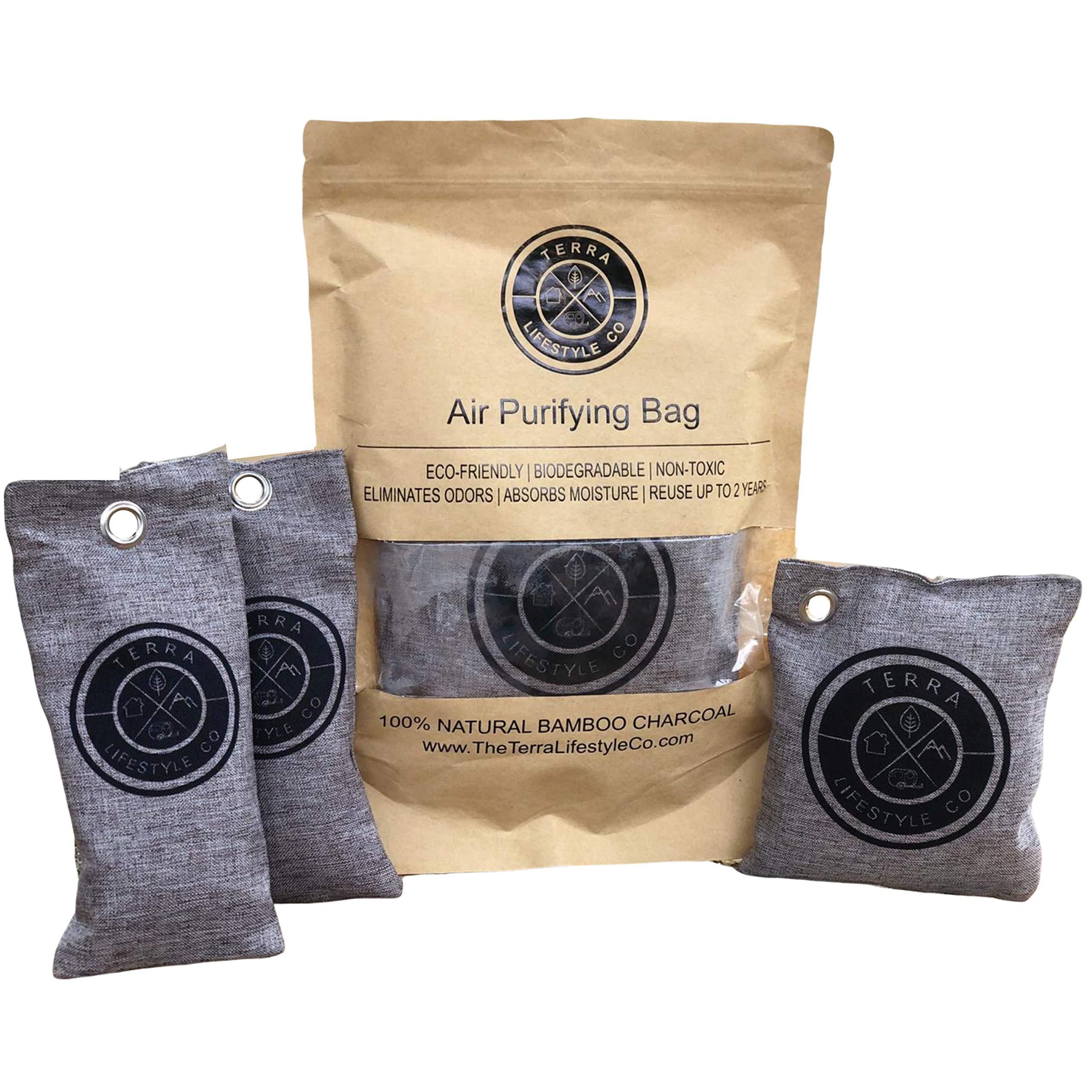 Terra Lifestyle Co -Bamboo Charcoal Air Purifying Bag - Gym Bag Set | Shoe Deodorizer, Shoe Odor Eliminator, Shoe Bag Odor Absorber, Sports Bag Shoe Deodorizers, Sneaker Balls, Odor Eaters, Freshener