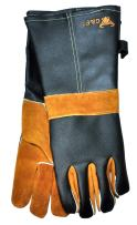 """14.5"""" Long Premium Leather Gloves, BBQ gloves, Grill and Fireplace Gloves, Cotton lining with Kevlar stitch, Heat Resistant Gloves, animal handling gloves, bite-proof gloves"""