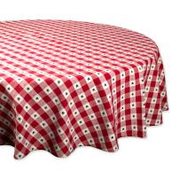 "DII Round Cotton Tablecloth for Independence Day, July 4th Party, Summer BBQ and Outdoor Picnics - 70"" Round, Red White and Blue Star Check"