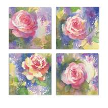WEXFORD HOME Flower Spring Collection Canvas Print 4 Panels Set Décor for Home Office Wall Art, 24X24, Margot's Rose/Frameless
