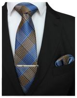 JEMYGINS Mens Plaid Necktie and Pocket Square with Tie Clip Sets