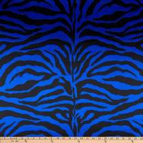Ben Textiles Charmeuse Satin Zebra Fabric, Royal, Fabric by the yard