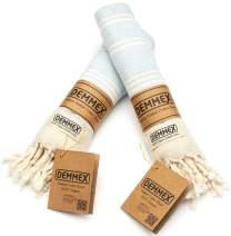 (Set of 2) DEMMEX Certified 100% Organic Cotton & Organic Dye Prewashed Diamond Weave Turkish Hand Face Gym Towel, 18x36 Inches (Baby Blue)
