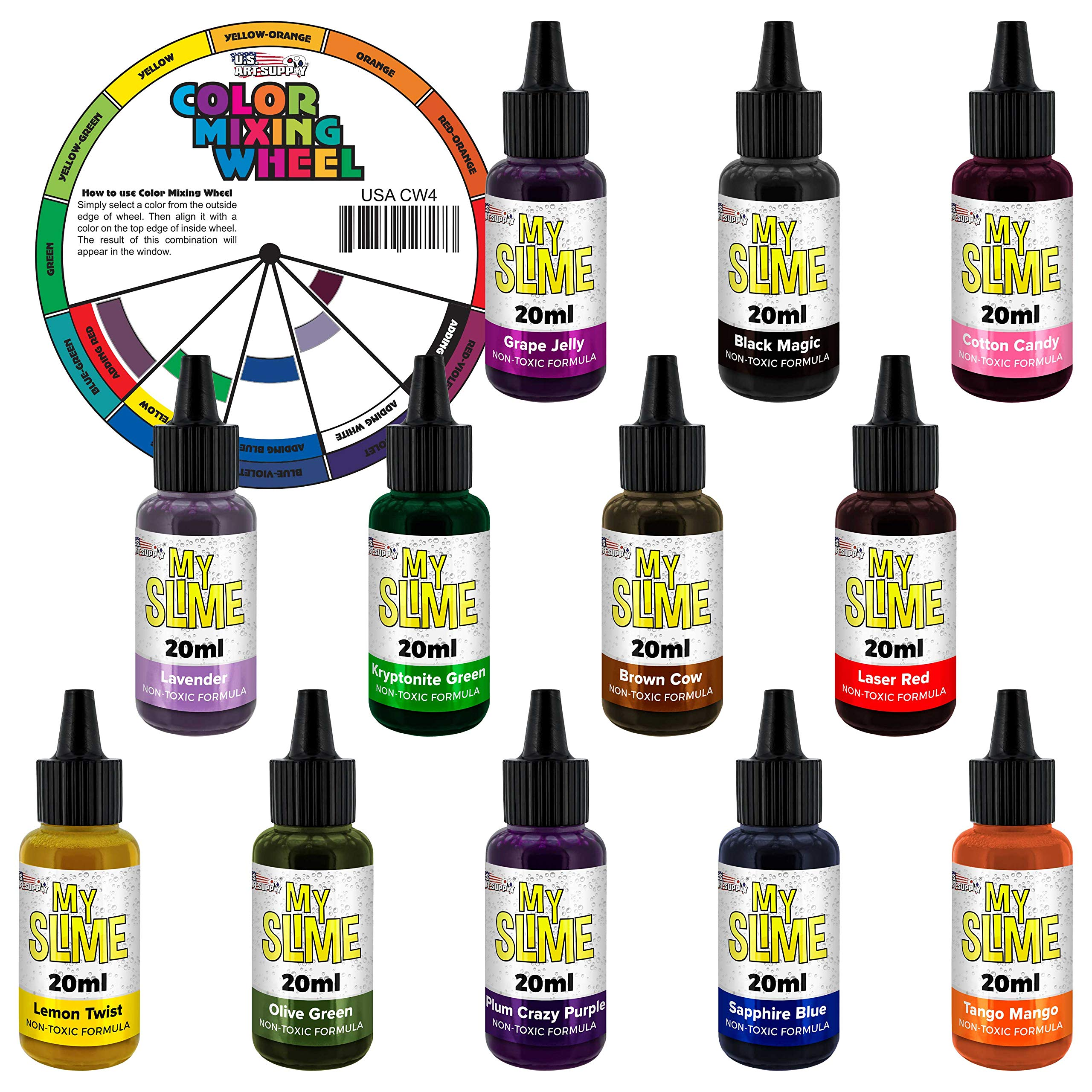 My Slime 12 Color Premium Slime Coloring Set, Large 20 ml Bottles - Non-Toxic Dyes, Works in White & Clear Slime Making Glues, Soaps - Color Mixing Wheel - Red, Tango Mango, Lemon Twist, Cotton Candy