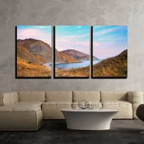 """wall26 - 3 Piece Canvas Wall Art - Sunset Over a Rocky Coast - Modern Home Art Stretched and Framed Ready to Hang - 16""""x24""""x3 Panels"""