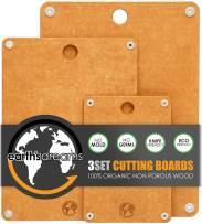Earth's Dreams 100% Natural Fiber Wooden Cutting Board [3Set], Dishwasher Safe, Non-Slip, Non-Porous, Eco Friendly Bamboo Cutting Board for Kitchen, XL Chopping Board, BPA Free