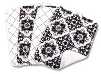 Trend Lab B&W Versailles Print Blooming Bouquet Burp Cloths, Set of 4
