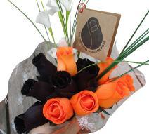 The Original Wooden Rose Halloween Black and Orange Flower Bouquet Closed Bud (1 Dozen)