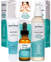 NutraNuva Face Food Natural Skin Care – Stop-the-Clock! Beauty Gift Set - Anti Aging Anti Wrinkle Moisturizer + Anti Aging Serum Complex with 20% C + All-in-One Cleanser, Exfoliator & Toner (3 Items)