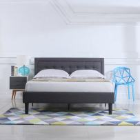 Divano Roma Furniture Classic Deluxe Linen Low Profile Platform Bed Frame with Nailhead Trim Headboard Design (Full, Grey)