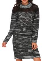 Zeagoo Women's Winter Warm Casual Long Sleeve Knitted Loose Fit Knit Pullover Sweater Dress, Black, Small