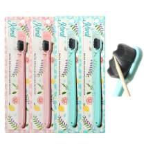 Koral Mink Extra Soft Toothbrush Pack, 4 Pc Set, Softest Bristles for Sensitive Teeth and Gums, 7mm Velvet Bristles for a Whiter, Healthier Smile, Gentle Brushing for Adults or Kids