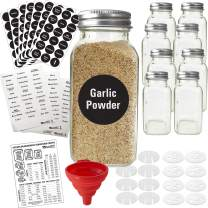 8 XLarge 8oz Glass Spice Jars w/2 Types of Printed Spice Labels. Premium Commercial Grade Set: Empty Square Jar, Airtight Cap Chalk & Clear Stickers Pour Sift Shaker by Talented Kitchen (8oz JARS)