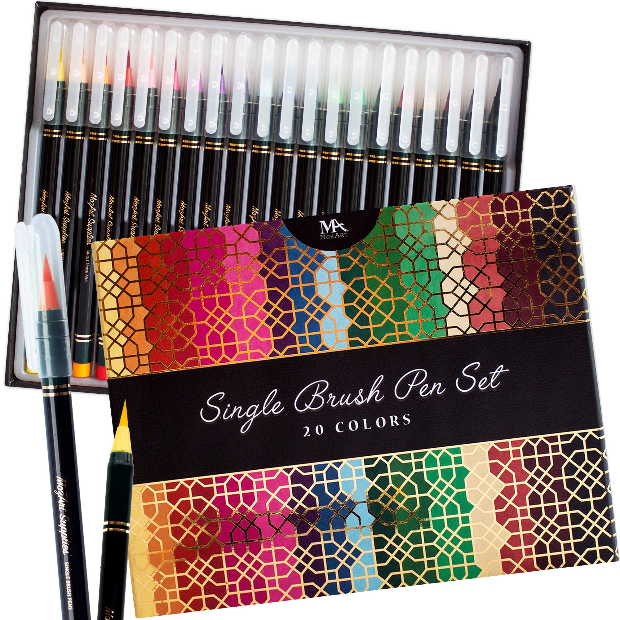 Luxury Single Brush Pen Gift Box – 20 Premium Colors, Soft, Flexible Real Brush Tips- Water Based Ink for Watercolor Effects - Ideal for artists, students and calligraphers - MozArt Supplies