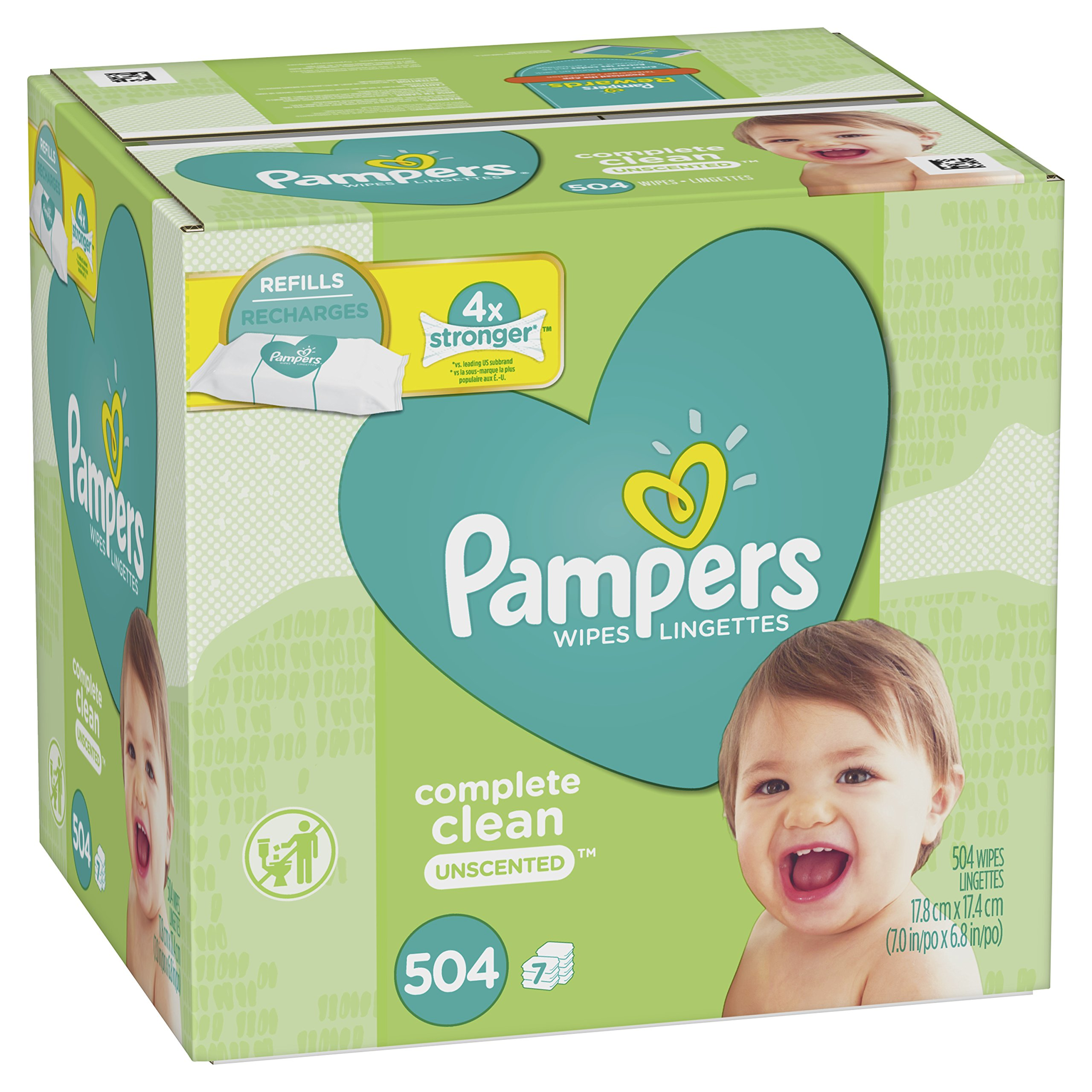 Baby Wipes, Pampers Baby Diaper Wipes, Complete Clean Unscented, 7 Refill Packs for Dispenser Tub, 504 Total Wipes