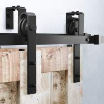 Homacer Sliding Barn Door Hardware Bypass Double Door Kit, 5.5FT Flat Track U-Shape Bracket Classic Design Roller, Black Rustic Heavy Duty Interior Exterior Use