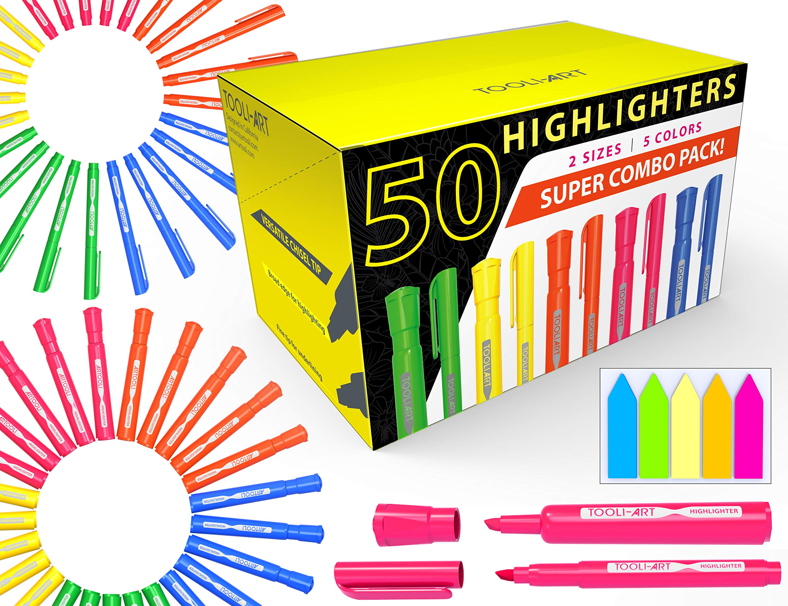 TOOLI-ART 50 Chisel Tip Highlighters Markers Bulk Assorted Colors, Tank and Pen Type Combo, Bonus Sticky Index Tabs, 5 Vivid Fluorescent Colors: Office, School, Home, Students, Teachers, Bible Study