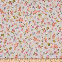 Fabric Merchants French Terry Knit Mini Floral, Ivory/Pink Yard