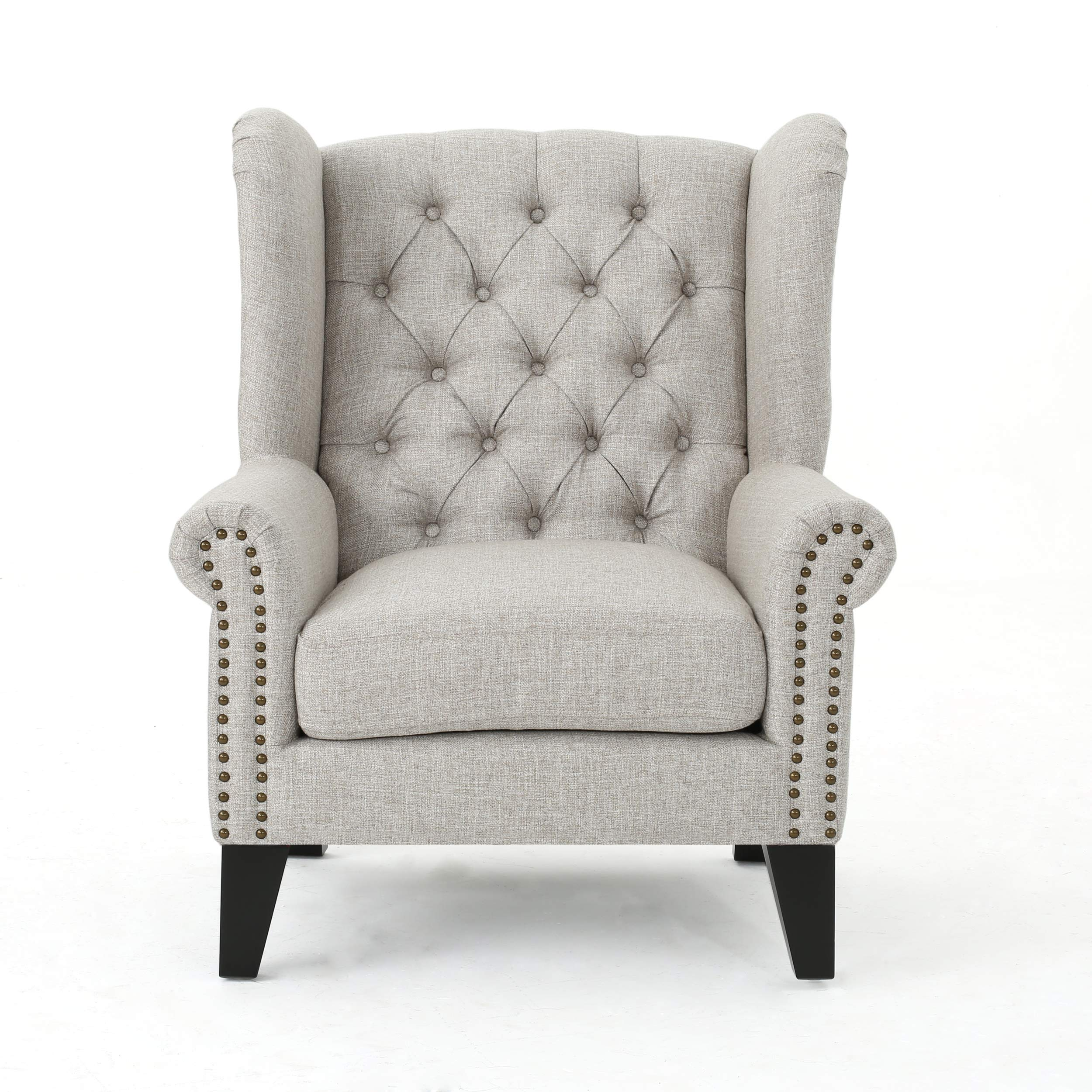 Christopher Knight Home Laird Traditional Winged Fabric Accent Chair, Beige / Dark Brown