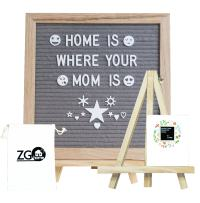 Grey Felt Letter Board with 678 Letters, Numbers, Emojis and Symbols,10X10 Inches Changeable Oak Frame Message Board with Mount Hanger, Stand and Canvas Bags by ZG-Home