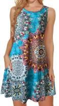 Summer Dresses for Women Beach Floral Tshirt Sundress Sleeveless Pockets Casual Loose Tank Dress