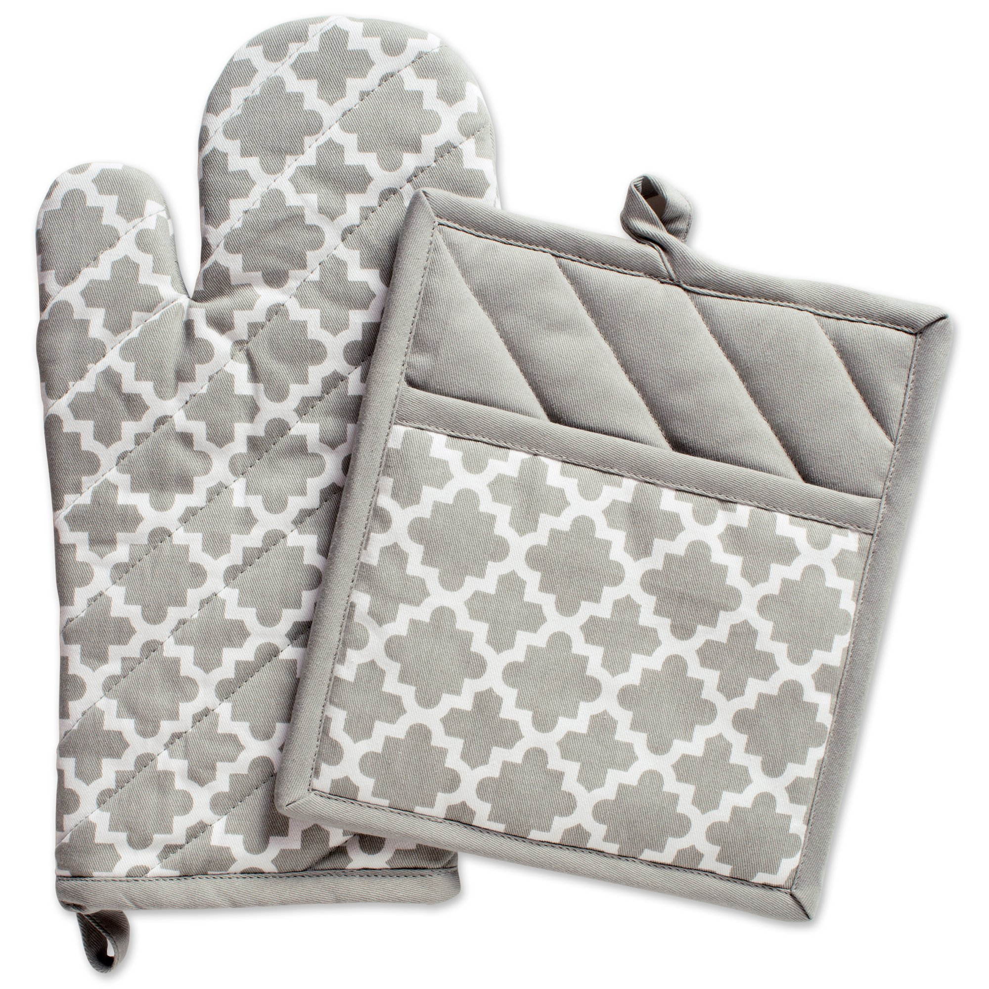 """DII Cotton Lattice Oven Mitt 13 x 7"""" and  Pot Holder 9 x 8"""" Kitchen Gift Set, Machine Washable and Heat Resistant for Cooking & Baking-Gray"""
