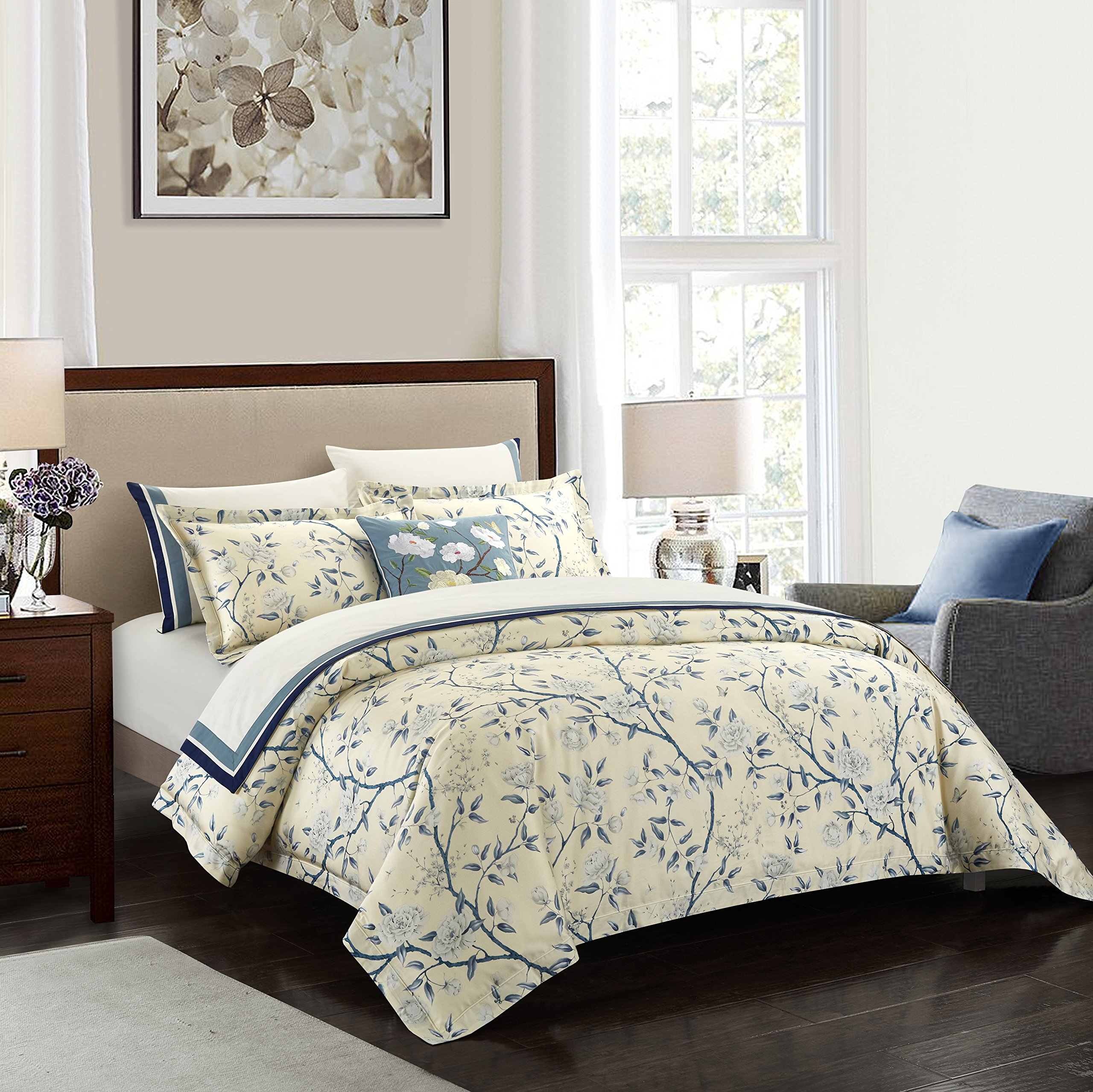 Casabolaj Blue&White Luxury Vintage Duvet Covers Set 3 Pieces Deluxe French Country Watercolor 100% Egyptian Cotton Sateen 400 Thread Count Button Closure and Corner Ties King Size