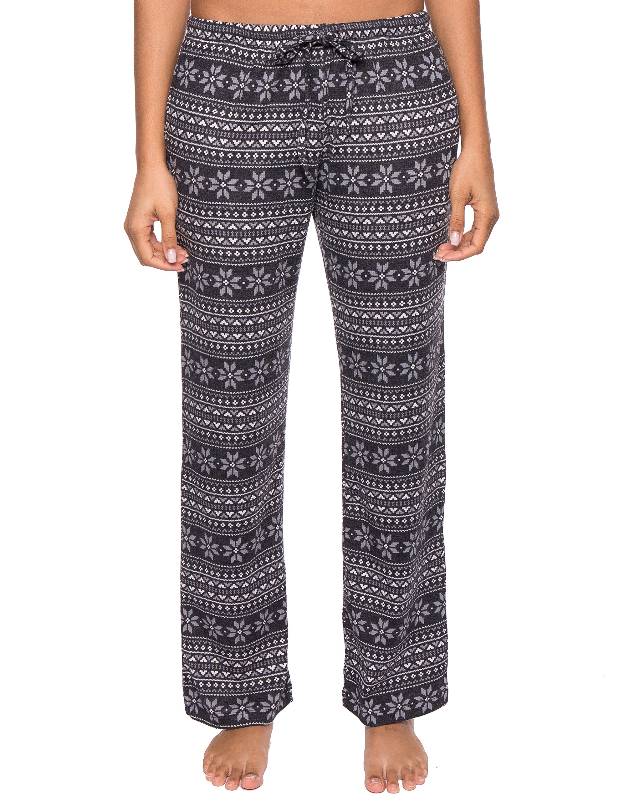 Noble Mount Thermal Pajama Pants for Women - Snowflake Bands - Navy/Grey - Small