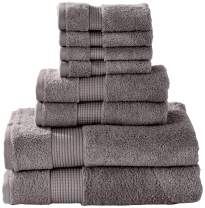 Manor Ridge Turkish Cotton 700 GSM 8 Piece Towel Set, Super Soft, Heavy Weight & Absorbent, Charcoal