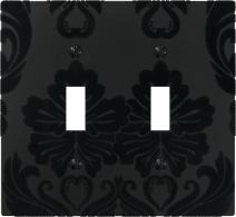 Amerelle Damask Double Toggle Composite Wallplate in Black