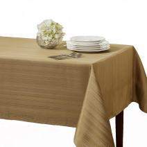 """Benson Mills Flow """"Spillproof"""" 60-Inch by 120-Inch Fabric Tablecloth, Taupe/Gold"""