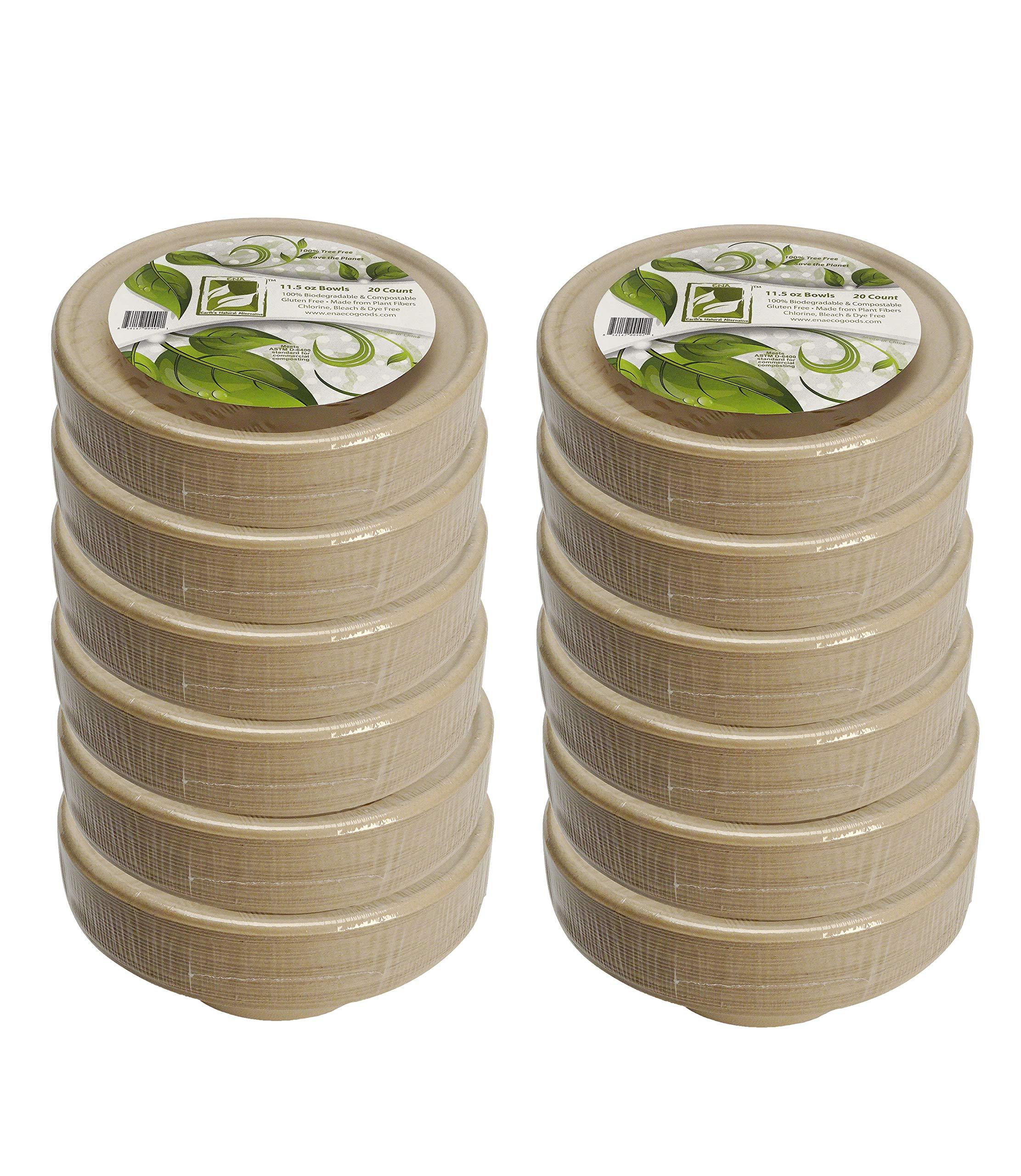 Earth's Natural Alternative Eco-Friendly, Natural Compostable Plant Fiber 12 oz. Bowl, Tan, 240 Count