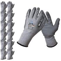 GlovBE 12 Pairs Cut Resistant Work Gloves, Level 4 HDPE Liner, Polyurethane (PU) Coated, Grey (XL)