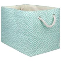 DII Geo Diamond Woven Paper Laundry Hamper or Storage Bin, Medium Rectangle, Aqua