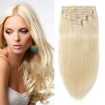 S-noilite Thick 130gram for Full Head Human Hair Clip in Extensions Real Human Hair Clip in 16inch 8pcs Double Weft Clip on Hair Grade 7A Quality #613 Bleach Blonde