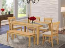 East West Furniture CANO6-OAK-C Kitchen Dining Table Set 6 Piece - Microfiber Upholstery Dining Table Chairs Seat - Oak Finish Wood Table and Kitchen Bench