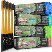 My Magic Mud Charcoal Toothpaste & Bamboo Toothbrush, Eco-Friendly & Sustainable Product, Organic Coconut Oil, Best Natural Whitener, (4) Soft Bristle Wood Tooth Brushes (4) Tooth Paste, 8-pack