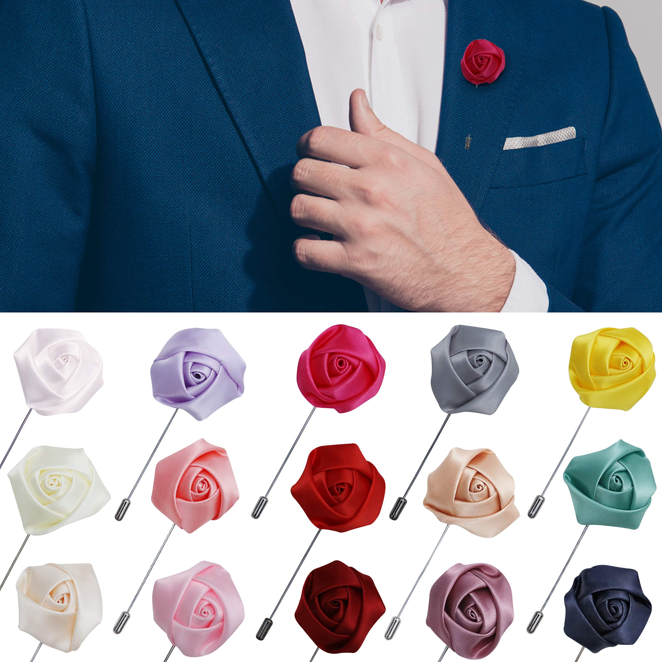 JLIKA Lapel Pins for Men Flower Pin Rose for Wedding Boutonniere Stick Boutineers (Set of 15 PINS) (Assorted Mix)
