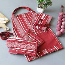 Plush Home 100% Cotton Eco-Friendly Kitchen Combo Set of Apron, Oven Mitten, Pot Holder & Pair of Kitchen Towels with a Unique Red Stripes Printed | Perfect for Gifting, Baking & Cooking