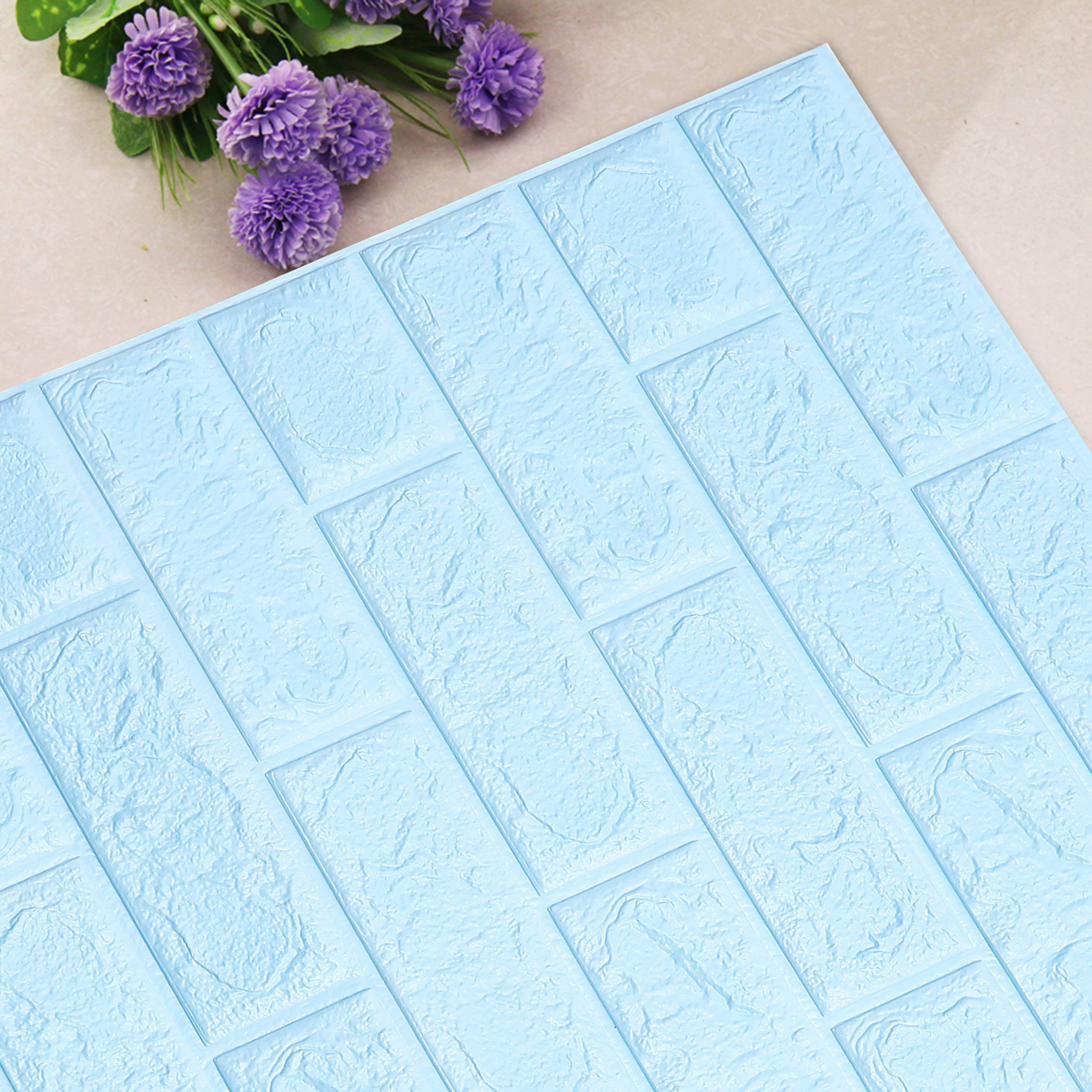UNICOO - 3D Wall Panels Peel and Stick Self-Adhesive Real Bricks Effect Wall Tiles for Kids Room Bathroom Living Room TV Walls Sofa Background Wall Decoration. 116sq ft 20 Packs (Light Blue)